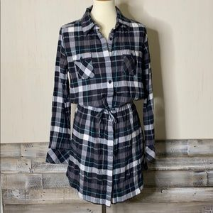PATAGONIA M Plaid Button Front Shirt Tail Dress